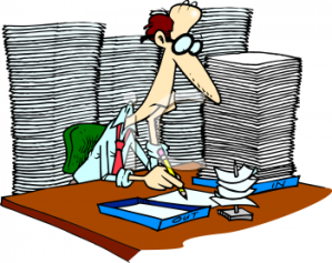 0511-0810-3119-1743_Cartoon_of_an_Office_Worker_with_Too_Much_Paperwork_clipart_image
